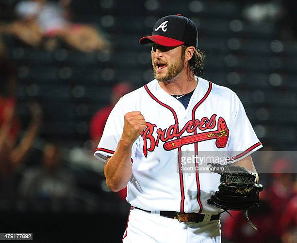 Jason Grilli of the Atlanta Braves reacts after recording the final out of the game against the Washington Nationals at Turner Field on July 1 2015...