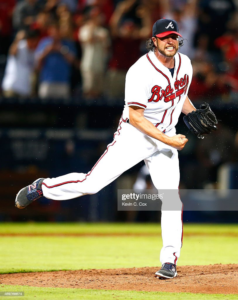 Jason Grilli of the Atlanta Braves reacts after striking out Lucas Duda of the New York Mets in the ninth inning to give the Braves a 53 win during...