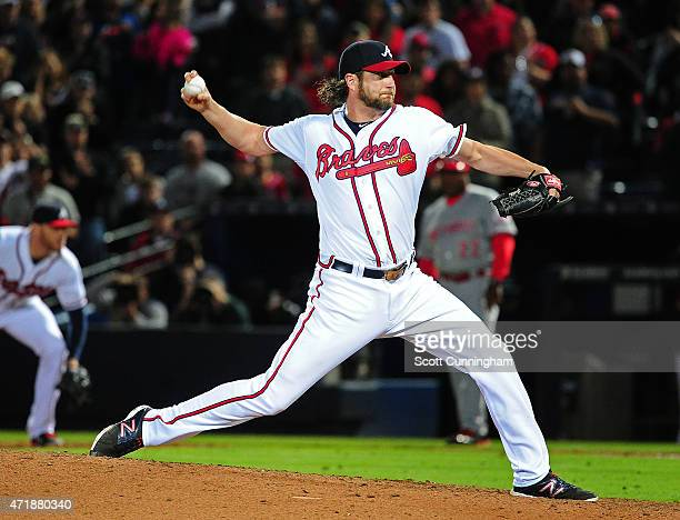 Jason Grilli of the Atlanta Braves throws a ninth inning pitch against the Cincinnati Reds at Turner Field on May 1 2015 in Atlanta Georgia