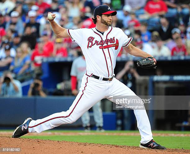 Jason Grilli of the Atlanta Braves throws a ninth inning pitch against the Washington Nationals at Turner Field during Opening Day on April 4 2016 in...