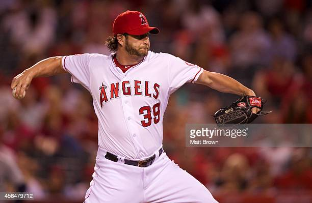 Jason Grilli of the Los Angeles Angels of Anaheim pitches during the game against the Seattle Mariners on July 18 2014 at Angel Stadium of Anaheim in...