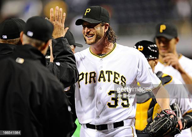 Jason Grilli of the Pittsburgh Pirates celebrates after a 31 win over the Cincinnati Reds on April 13 2013 at PNC Park in Pittsburgh Pennsylvania