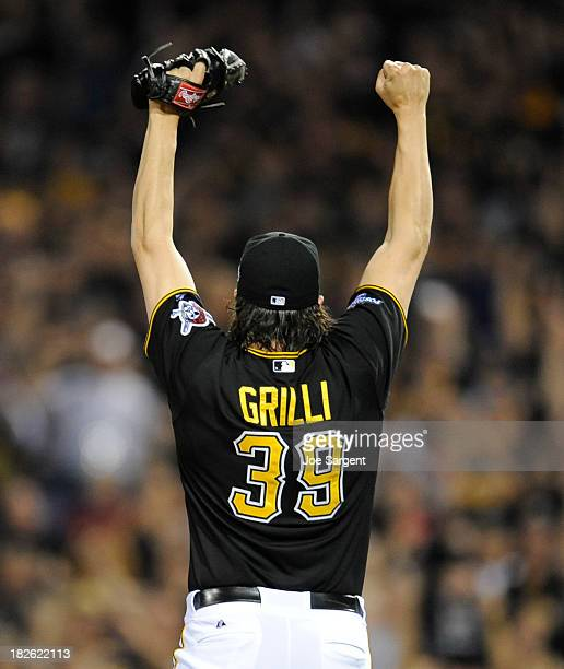 Jason Grilli of the Pittsburgh Pirates celebrates after a 62 win during the National League Wild Card game against the Cincinnati Reds on Tuesday...