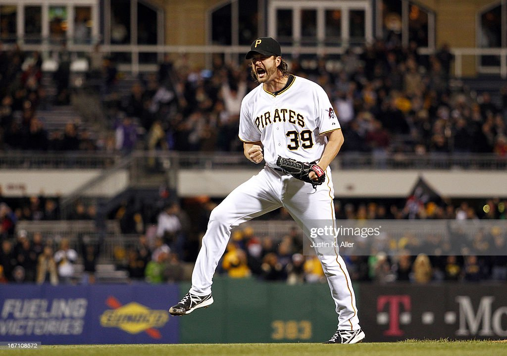 <a gi-track='captionPersonalityLinkClicked' href=/galleries/search?phrase=Jason+Grilli&family=editorial&specificpeople=615724 ng-click='$event.stopPropagation()'>Jason Grilli</a> #39 of the Pittsburgh Pirates celebrates after closing out the ninth inning against the Atlanta Braves during the game on April 20, 2013 at PNC Park in Pittsburgh, Pennsylvania. The Pirates defeated the Braves 3-1.