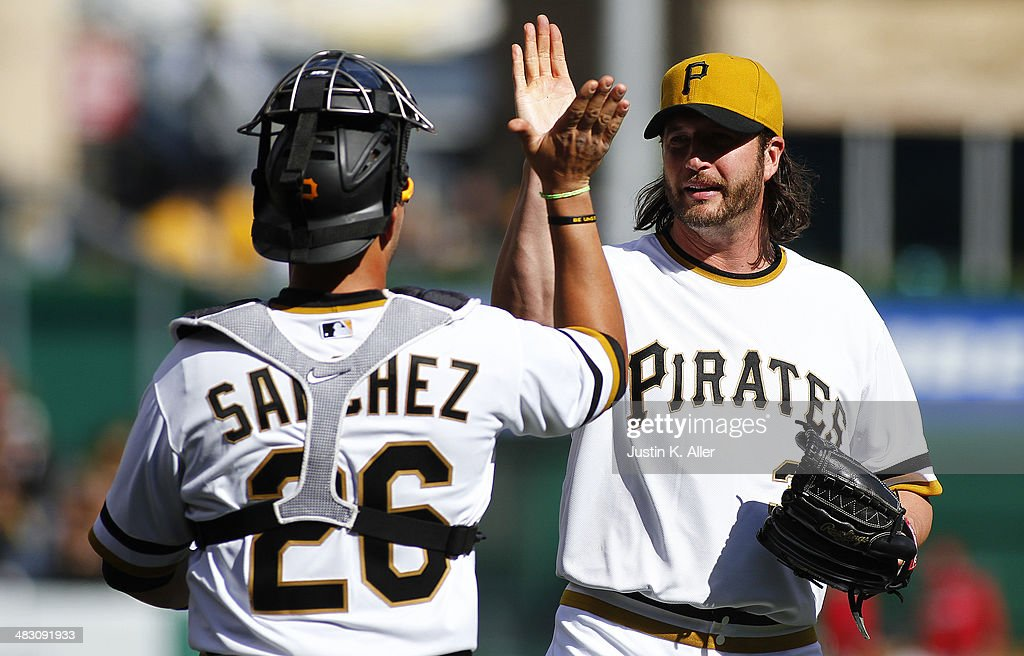 Jason Grilli #39 of the Pittsburgh Pirates celebrates after closing out the ninth inning against the St. Louis Cardinals during the game at PNC Park April 6, 2014 in Pittsburgh, Pennsylvania. The Pirates defeated the Cardinals 2-1.