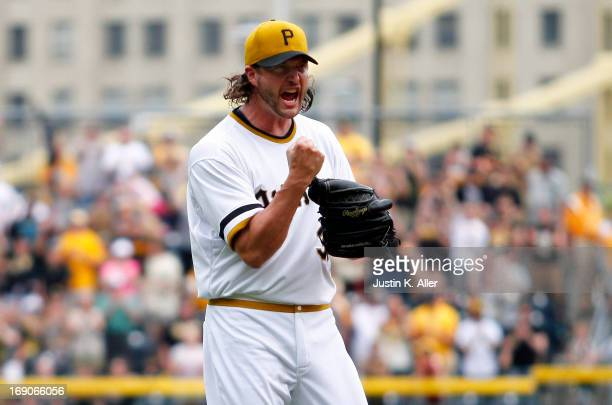 Jason Grilli of the Pittsburgh Pirates celebrates after defeating the Houston Astros during the game on May 19 2013 at PNC Park in Pittsburgh...