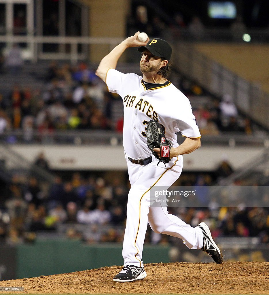 <a gi-track='captionPersonalityLinkClicked' href=/galleries/search?phrase=Jason+Grilli&family=editorial&specificpeople=615724 ng-click='$event.stopPropagation()'>Jason Grilli</a> #39 of the Pittsburgh Pirates closes out the ninth inning against the Atlanta Braves during the game on April 20, 2013 at PNC Park in Pittsburgh, Pennsylvania. The Pirates defeated the Braves 3-1.