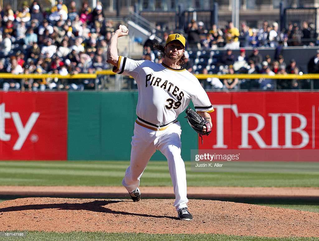 <a gi-track='captionPersonalityLinkClicked' href=/galleries/search?phrase=Jason+Grilli&family=editorial&specificpeople=615724 ng-click='$event.stopPropagation()'>Jason Grilli</a> #39 of the Pittsburgh Pirates pitches in the ninth inning against the Atlanta Braves during the game on April 21, 2013 at PNC Park in Pittsburgh, Pennsylvania. The Pirates defeated the Braves 4-2.