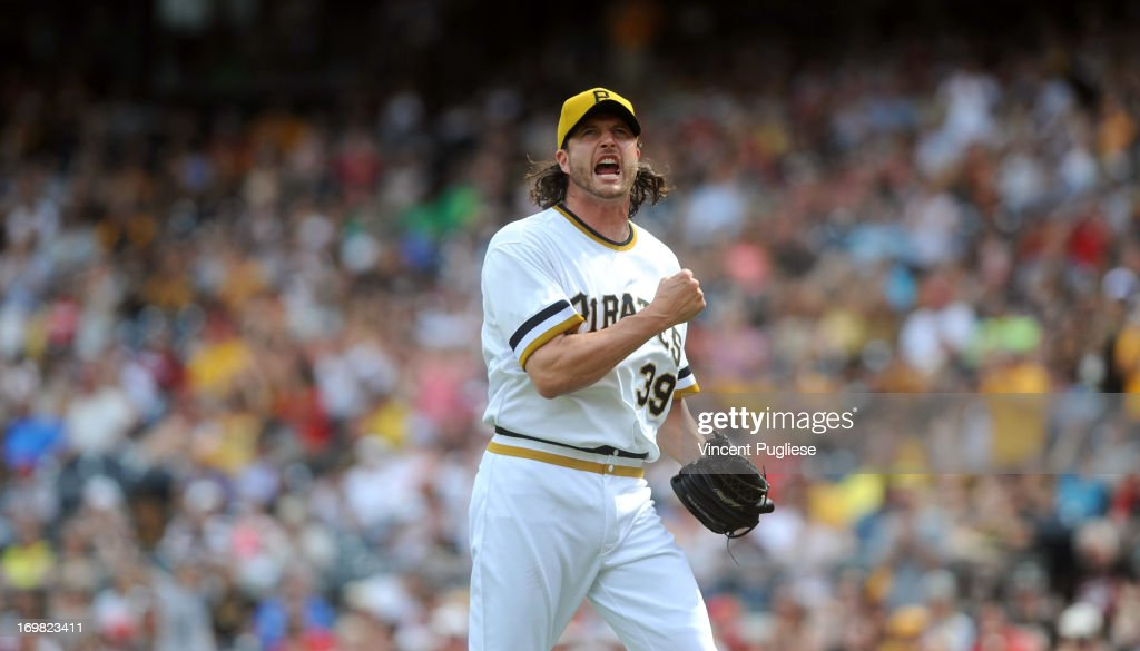 <a gi-track='captionPersonalityLinkClicked' href=/galleries/search?phrase=Jason+Grilli&family=editorial&specificpeople=615724 ng-click='$event.stopPropagation()'>Jason Grilli</a> #39 of the Pittsburgh Pirates reacts after a strikeout to end the ninth inning during the Pirates 5-4 victory over the Cincinnati Reds at PNC Park on June 2, 2013 in Pittsburgh, Pennsylvania.