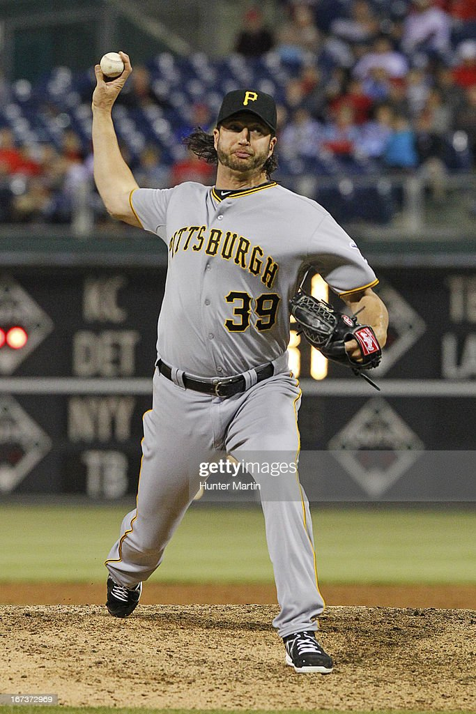 <a gi-track='captionPersonalityLinkClicked' href=/galleries/search?phrase=Jason+Grilli&family=editorial&specificpeople=615724 ng-click='$event.stopPropagation()'>Jason Grilli</a> #39 of the Pittsburgh Pirates throws a pitch in the ninth inning during a game against the Philadelphia Phillies at Citizens Bank Park on April 24, 2013 in Philadelphia, Pennsylvania. The Pirates won 5-3.