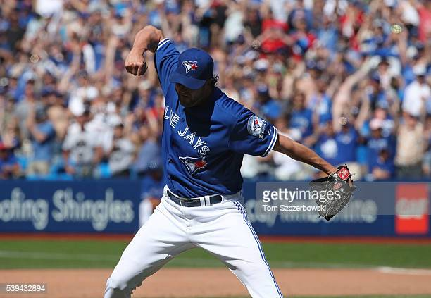 Jason Grilli of the Toronto Blue Jays celebrates their victory during MLB game action against the Baltimore Orioles on June 11 2016 at Rogers Centre...
