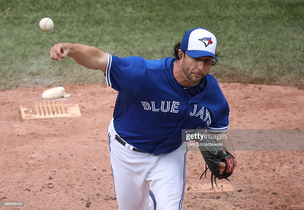 Jason Grilli #37 of the Toronto Blue Jays delivers a pitch in the eighth inning during MLB game action against the Houston Astros on August 14, 2016 at Rogers Centre in Toronto, Ontario, Canada.