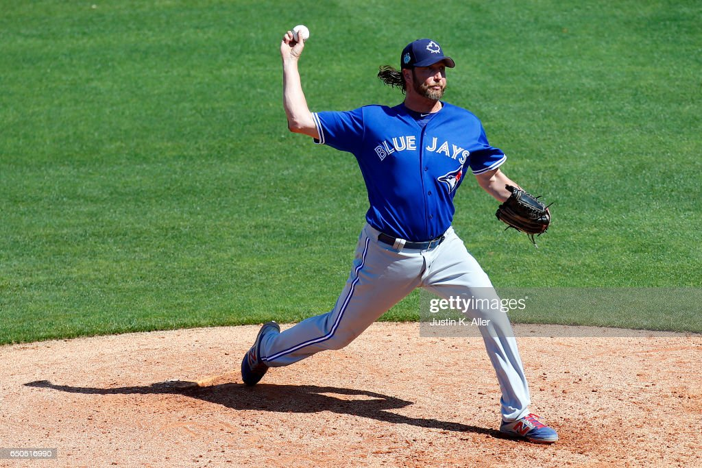 Jason Grilli #37 of the Toronto Blue Jays pitches against the Philadelphia Phillies on March 9, 2017 at Spectrum Field in Clearwater, Florida.