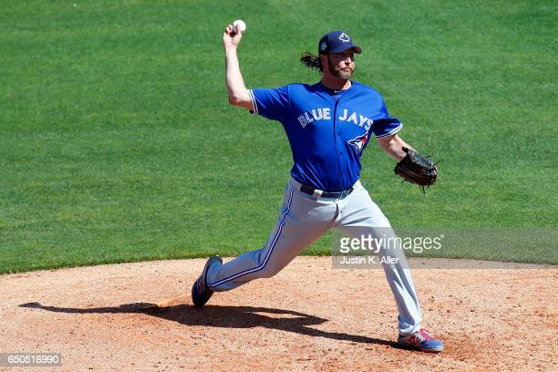 Jason Grilli of the Toronto Blue Jays pitches against the Philadelphia Phillies on March 9 2017 at Spectrum Field in Clearwater Florida