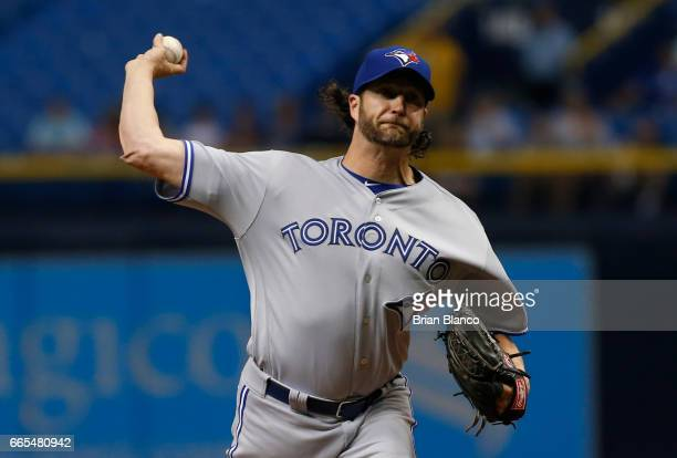 Jason Grilli of the Toronto Blue Jays pitches during the ninth inning of a game against the Tampa Bay Rays on April 6 2017 at Tropicana Field in St...