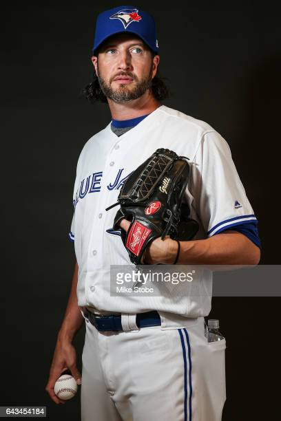Jason Grilli of the Toronto Blue Jays poses for a portait during a MLB photo day at Florida Auto Exchange Stadium on February 21 2017 in Dunedin...