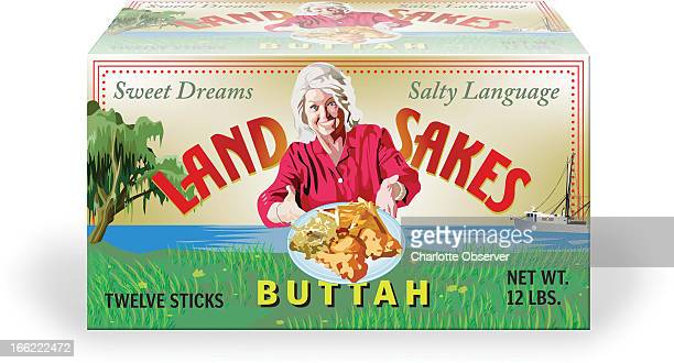 Jason H Whitley color illustration of Paula Deen adorning a box of Land Sakes Buttah presents a plate of fried chicken french fries and slaw