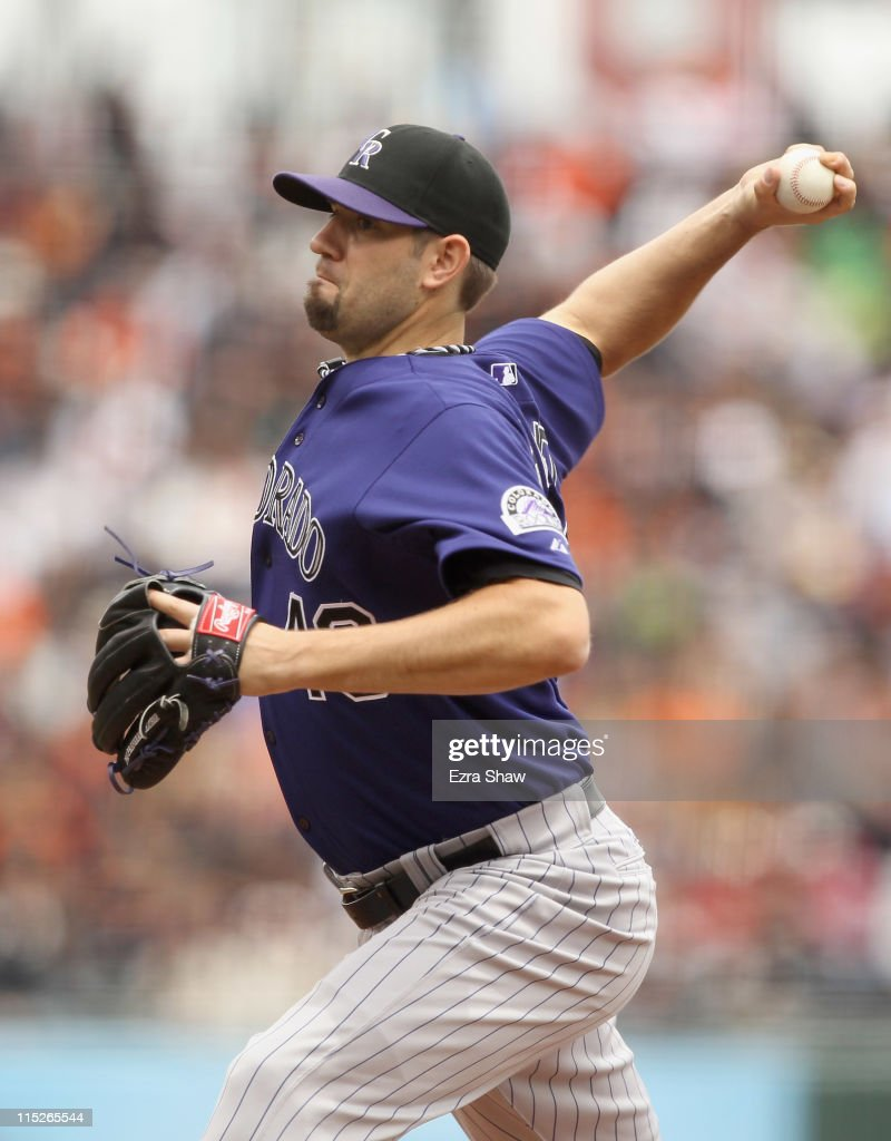 Jason Hammel #46 of the Colorado Rockies pitches against the San Francisco Giants at AT&T Park on June 5, 2011 in San Francisco, California.