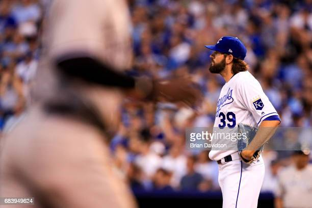 Jason Hammel of the Kansas City Royals stands on the mound after giving up a tworun home run to Chris Carter of the New York Yankees during the...