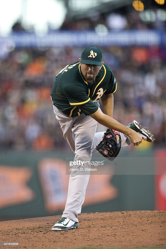 Jason Hammel #40 of the Oakland Athletics pitches against the San Francisco Giants during the second inning at AT&T Park on July 9, 2014 in San Francisco, California.