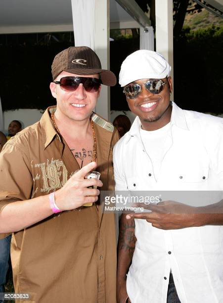 Jason Harper and singer NeYo attend the McDonald's Big Mac 40th Birthday Party at Project Beach House in Malibu California on July 27 2008