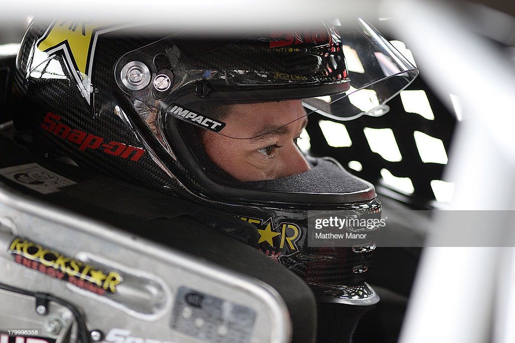 Jason Hathaway, driver of the #3 Snap-On Tools/Rockstar Energy car, waits in his car prior to practice for the NASCAR Canadian Tire Series race at Barrie Speedway on September 7, 2013 in Oro Station, Ontario, Canada.