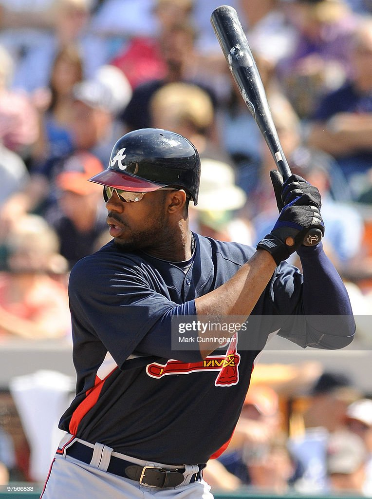 Jason Heyward of the Atlanta Braves bats against the Detroit Tigers during a spring training game at Joker Marchant Stadium on March 8 2010 in...