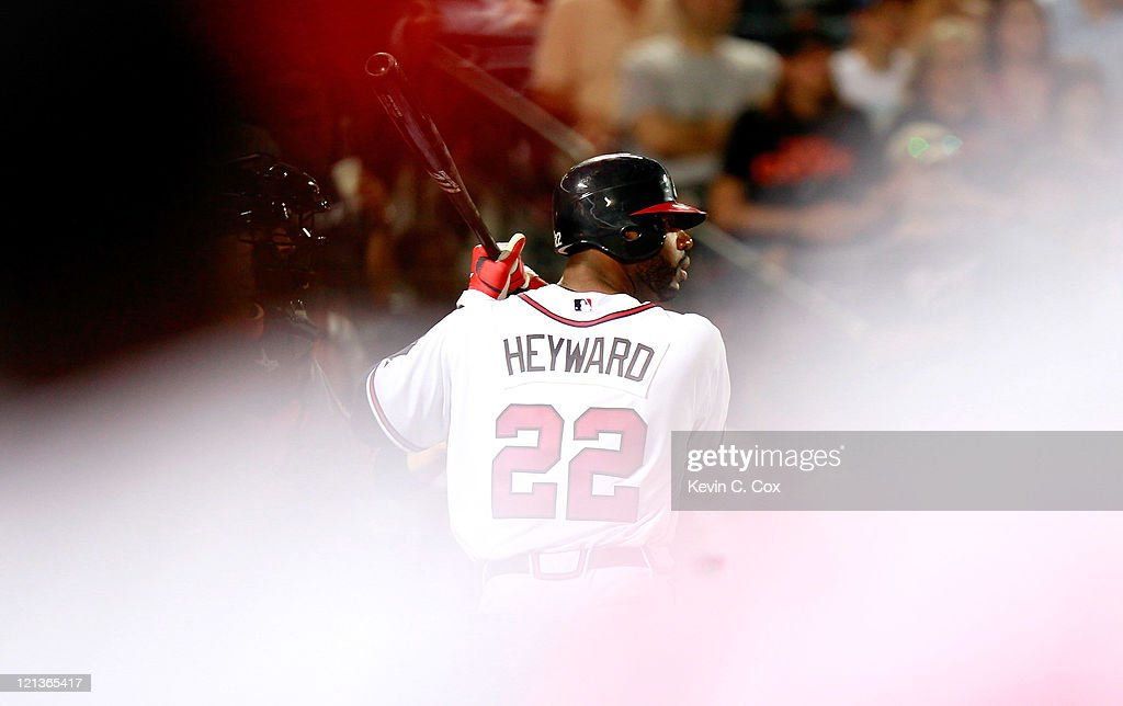 <a gi-track='captionPersonalityLinkClicked' href=/galleries/search?phrase=Jason+Heyward&family=editorial&specificpeople=5043351 ng-click='$event.stopPropagation()'>Jason Heyward</a> #22 of the Atlanta Braves bats in the eighth inning against the San Francisco Giants at Turner Field on August 18, 2011 in Atlanta, Georgia.