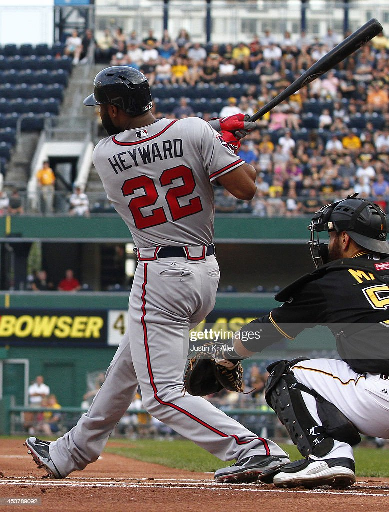 <a gi-track='captionPersonalityLinkClicked' href=/galleries/search?phrase=Jason+Heyward&family=editorial&specificpeople=5043351 ng-click='$event.stopPropagation()'>Jason Heyward</a> #22 of the Atlanta Braves hits a home run in the first inning against the Pittsburgh Pirates during the game at PNC Park on August 18, 2014 in Pittsburgh, Pennsylvania.