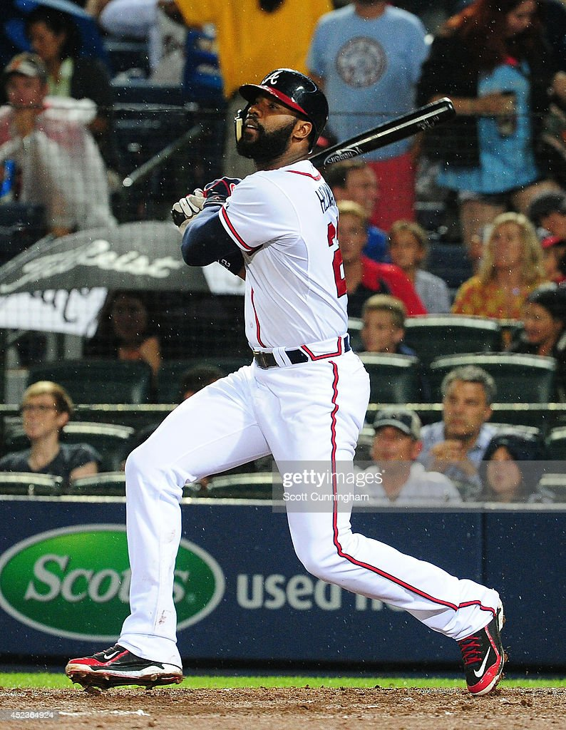 <a gi-track='captionPersonalityLinkClicked' href=/galleries/search?phrase=Jason+Heyward&family=editorial&specificpeople=5043351 ng-click='$event.stopPropagation()'>Jason Heyward</a> #22 of the Atlanta Braves hits a run scoring single in the fifth inning against the Philadelphia Phillies at Turner Field on July 18, 2014 in Atlanta, Georgia.