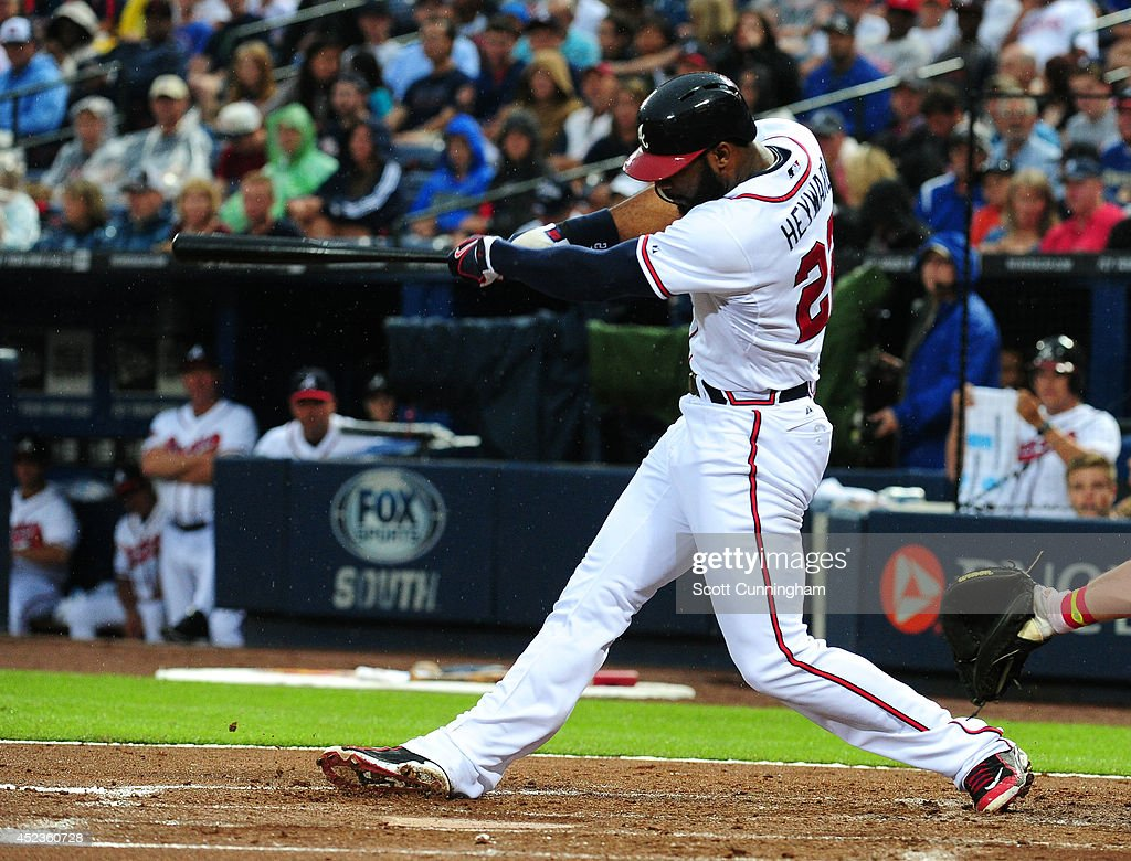 <a gi-track='captionPersonalityLinkClicked' href=/galleries/search?phrase=Jason+Heyward&family=editorial&specificpeople=5043351 ng-click='$event.stopPropagation()'>Jason Heyward</a> #22 of the Atlanta Braves hits a second inning solo home run against the Philadelphia Phillies at Turner Field on July 18, 2014 in Atlanta, Georgia.