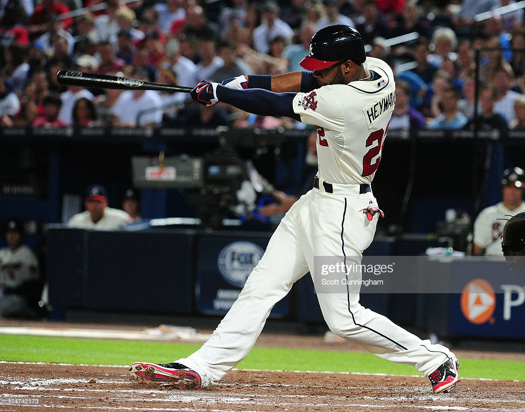 <a gi-track='captionPersonalityLinkClicked' href=/galleries/search?phrase=Jason+Heyward&family=editorial&specificpeople=5043351 ng-click='$event.stopPropagation()'>Jason Heyward</a> #22 of the Atlanta Braves hits a third inning home run against the St. Louis Cardinals at Turner Field on July 28, 2013 in Atlanta, Georgia.