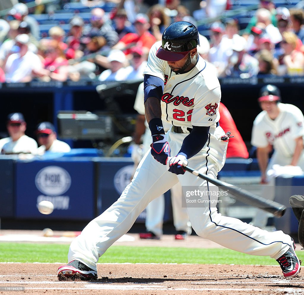 <a gi-track='captionPersonalityLinkClicked' href=/galleries/search?phrase=Jason+Heyward&family=editorial&specificpeople=5043351 ng-click='$event.stopPropagation()'>Jason Heyward</a> #22 of the Atlanta Braves hits against the Miami Marlins at Turner Field on August 11, 2013 in Atlanta, Georgia.