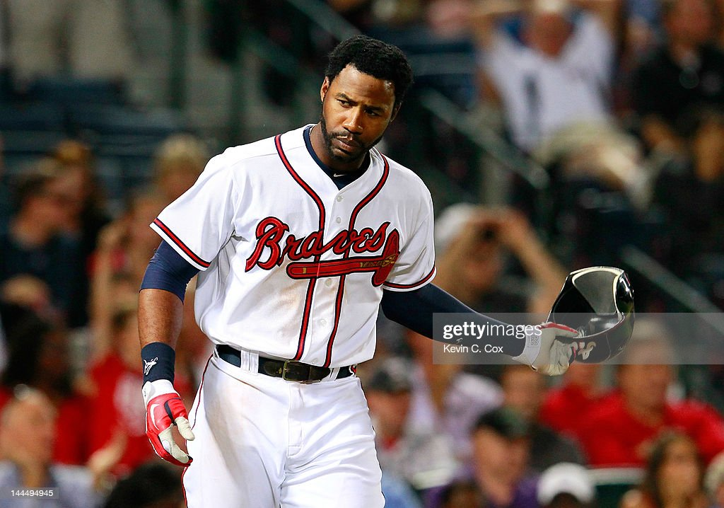 <a gi-track='captionPersonalityLinkClicked' href=/galleries/search?phrase=Jason+Heyward&family=editorial&specificpeople=5043351 ng-click='$event.stopPropagation()'>Jason Heyward</a> #22 of the Atlanta Braves reacts after striking out swinging in the eighth inning against the Cincinnati Reds at Turner Field on May 14, 2012 in Atlanta, Georgia.