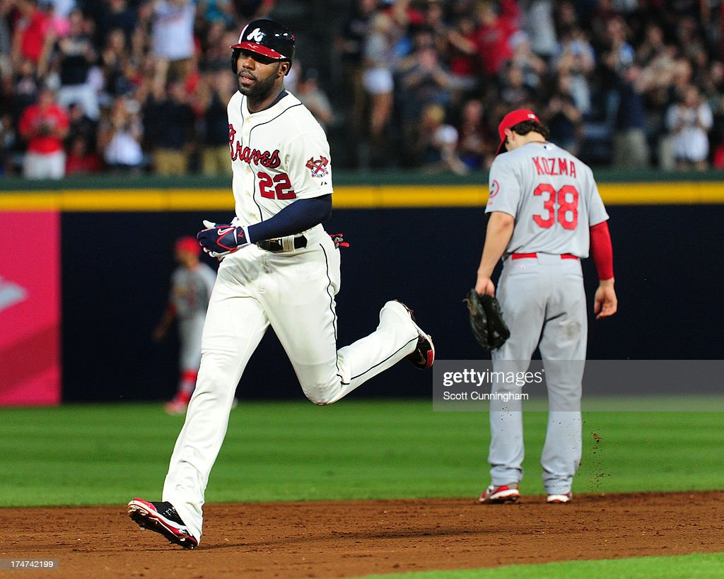 <a gi-track='captionPersonalityLinkClicked' href=/galleries/search?phrase=Jason+Heyward&family=editorial&specificpeople=5043351 ng-click='$event.stopPropagation()'>Jason Heyward</a> #22 of the Atlanta Braves rounds the bases after hitting a third inning home run against the St. Louis Cardinals at Turner Field on July 28, 2013 in Atlanta, Georgia.
