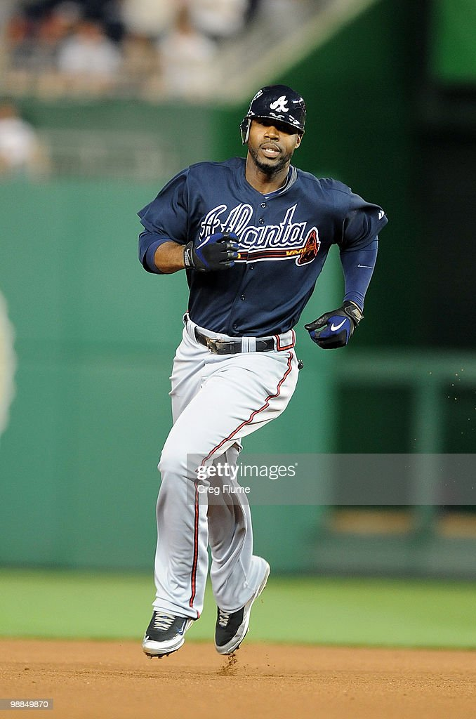 Jason Heyward 22 Of The Atlanta Braves Rounds Bases After Hitting A Home Run