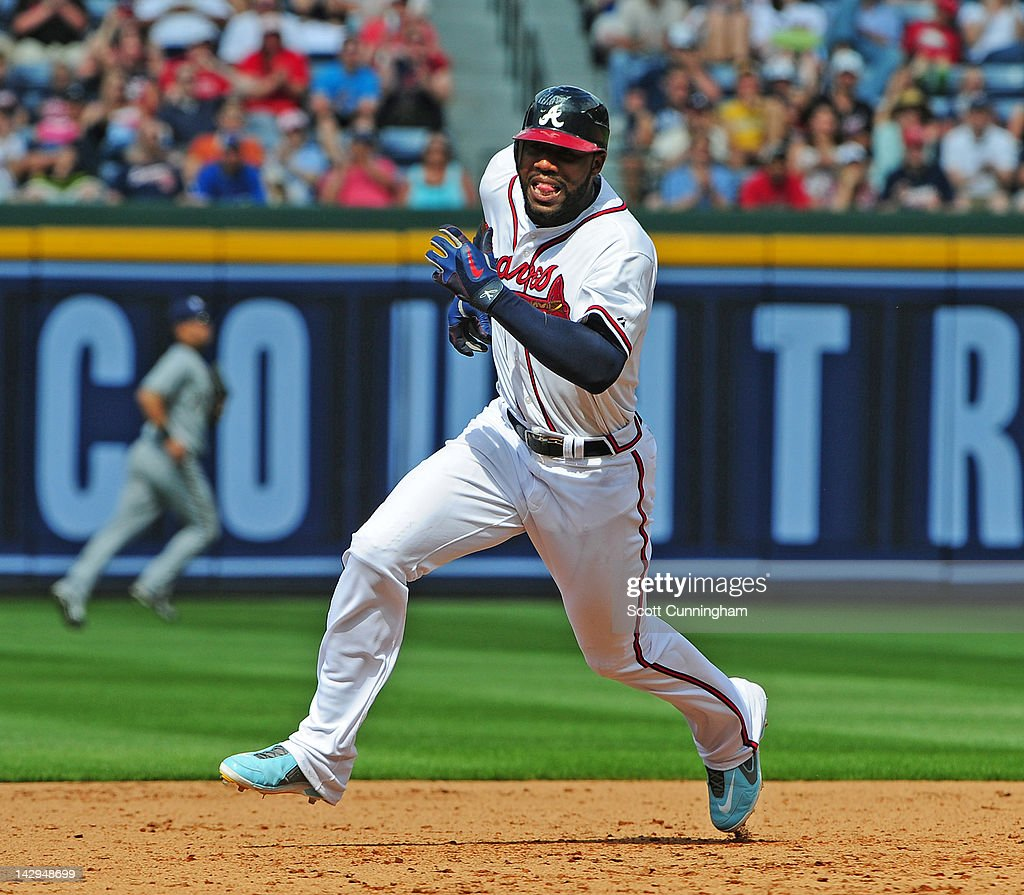 <a gi-track='captionPersonalityLinkClicked' href=/galleries/search?phrase=Jason+Heyward&family=editorial&specificpeople=5043351 ng-click='$event.stopPropagation()'>Jason Heyward</a> of the Atlanta Braves rounds the bases against the Milwaukee Brewers at Turner Field on April 15, 2012 in Atlanta, Georgia. All uniformed team members are wearing jersey number 42 in honor of Jackie Robinson Day.
