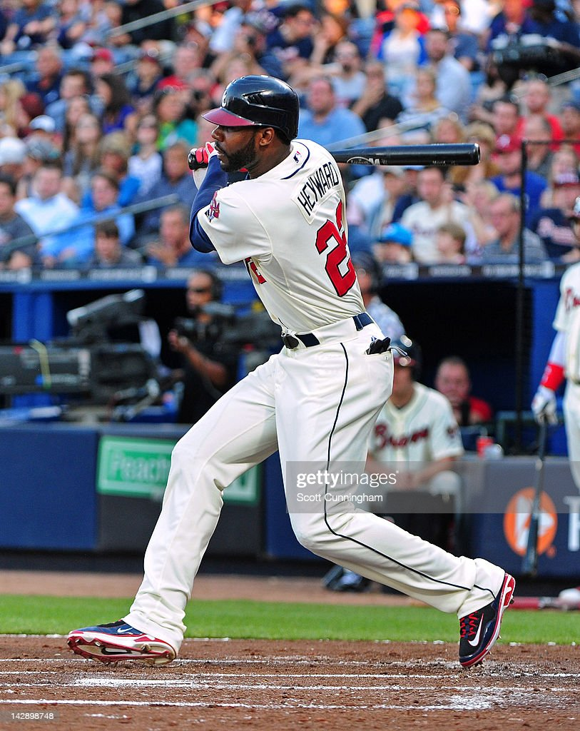 <a gi-track='captionPersonalityLinkClicked' href=/galleries/search?phrase=Jason+Heyward&family=editorial&specificpeople=5043351 ng-click='$event.stopPropagation()'>Jason Heyward</a> #22 of the Atlanta Braves singles against the Milwaukee Brewers at Turner Field on April 14, 2012 in Atlanta, Georgia.