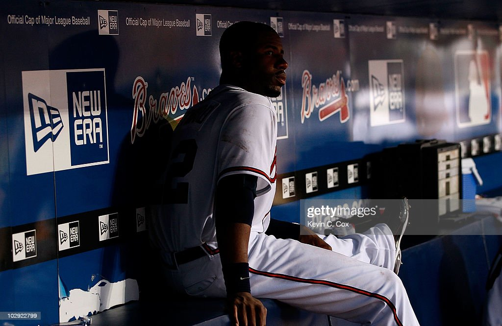 <a gi-track='captionPersonalityLinkClicked' href=/galleries/search?phrase=Jason+Heyward&family=editorial&specificpeople=5043351 ng-click='$event.stopPropagation()'>Jason Heyward</a> #22 of the Atlanta Braves sits in the dugout at the bottom of an inning against the Milwaukee Brewers at Turner Field on July 15, 2010 in Atlanta, Georgia.