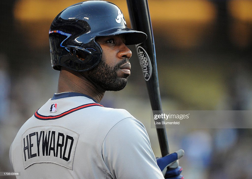 <a gi-track='captionPersonalityLinkClicked' href=/galleries/search?phrase=Jason+Heyward&family=editorial&specificpeople=5043351 ng-click='$event.stopPropagation()'>Jason Heyward</a> #22 of the Atlanta Braves waits on deck during the game against the Los Angeles Dodgers at Dodger Stadium on June 6, 2013 in Los Angeles, California.