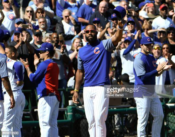 Jason Heyward of the Chicago Cubs acknowledges the 2017 National League Central Division Championship to the fans before the game against the...