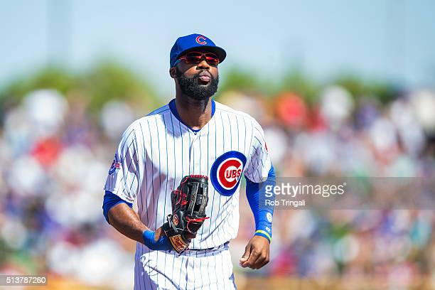 Jason Heyward of the Chicago Cubs bats looks on a spring training game against the Los Angeles Angels at Sloan Park on March 4 2016 in Mesa Arizona