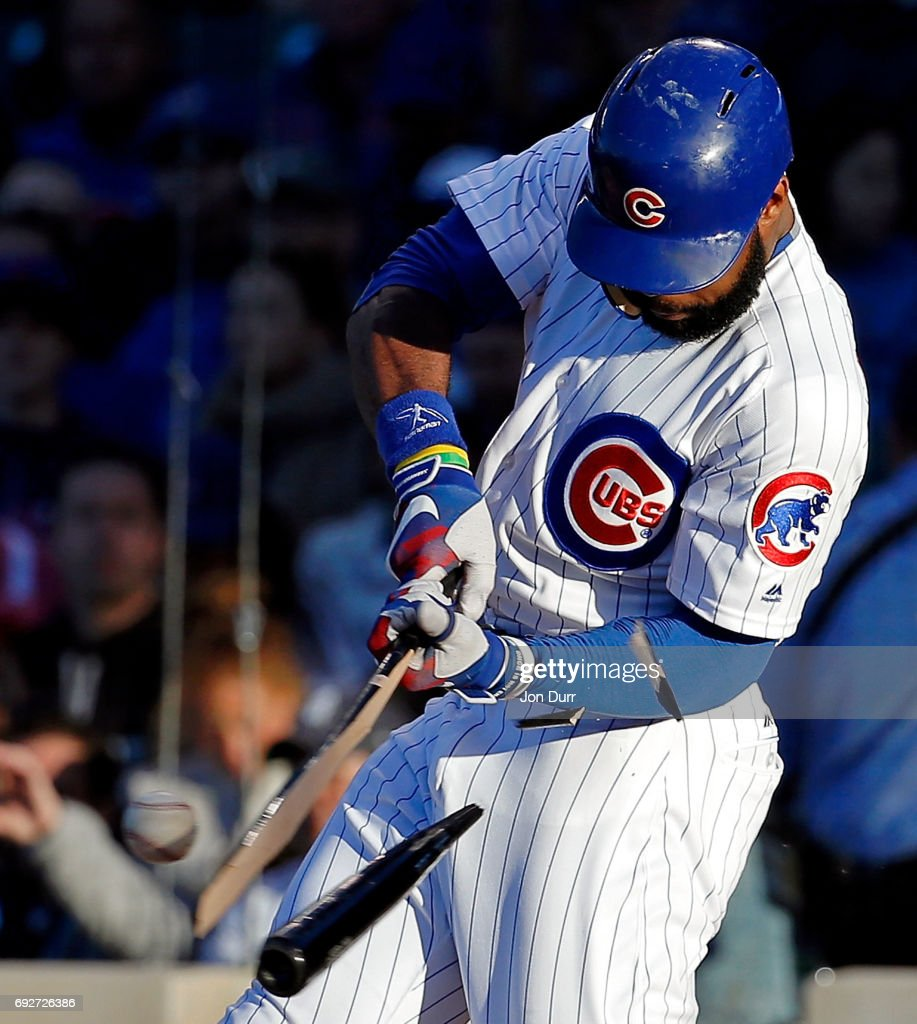 Jason Heyward #22 of the Chicago Cubs breaks his bat as he grounds out against the Miami Marlins during the first inning at Wrigley Field on June 5, 2017 in Chicago, Illinois.