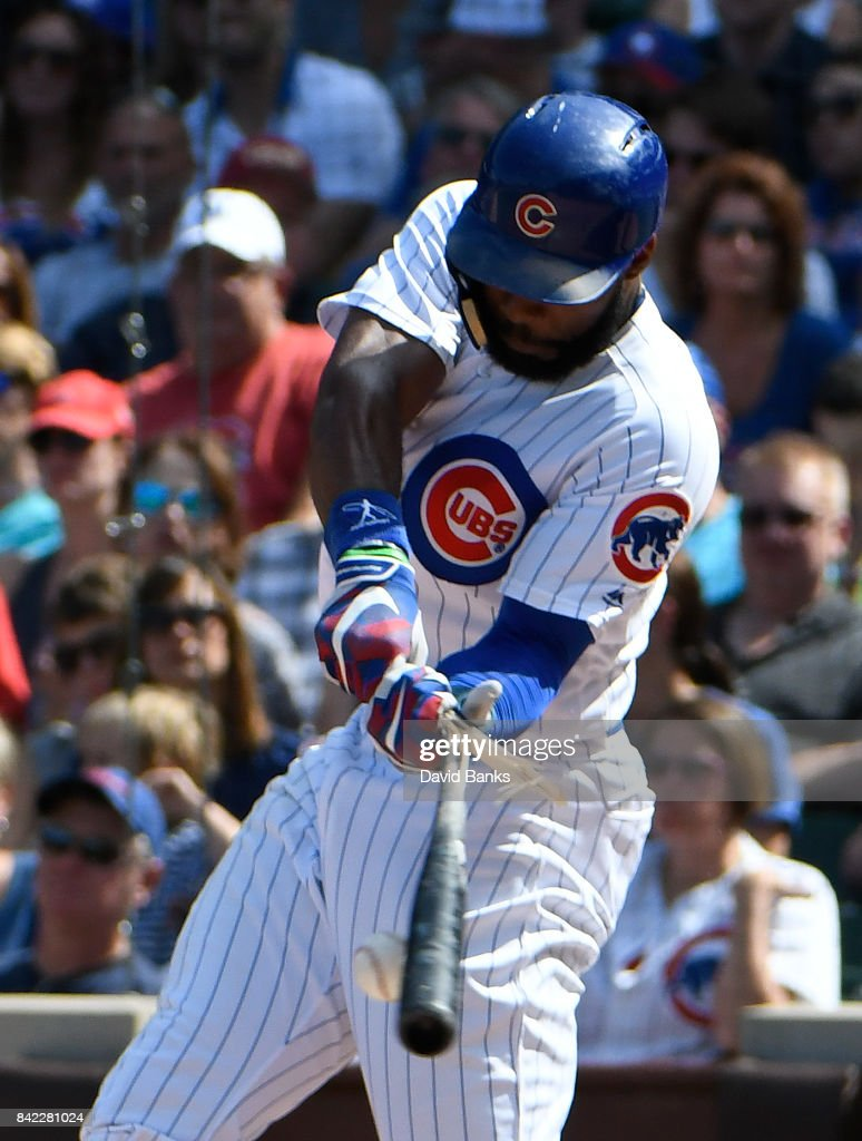 Jason Heyward #22 of the Chicago Cubs breaks his bat as he grounds out against the Atlanta Braves during the fifth inning on September 3, 2017 at Wrigley Field in Chicago, Illinois.