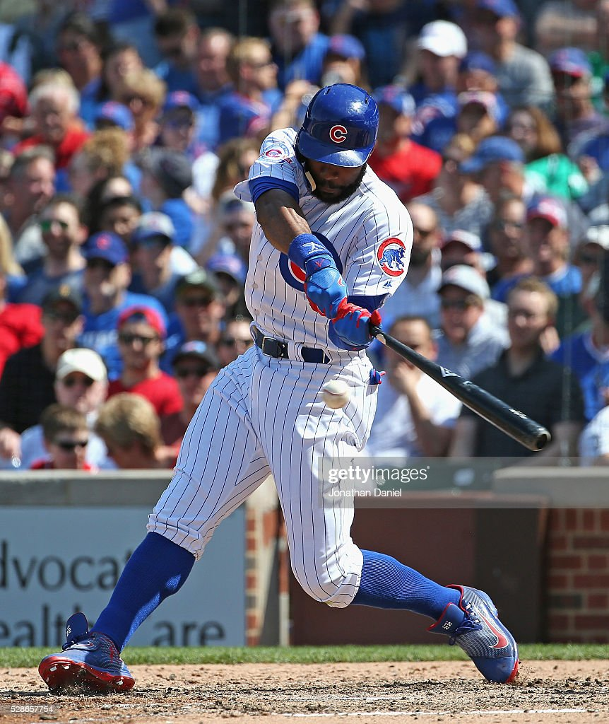 Jason Heyward #22 of the Chicago Cubs hits a double in the 5th inning against the Washington Nationals at Wrigley Field on May 6, 2016 in Chicago, Illinois.