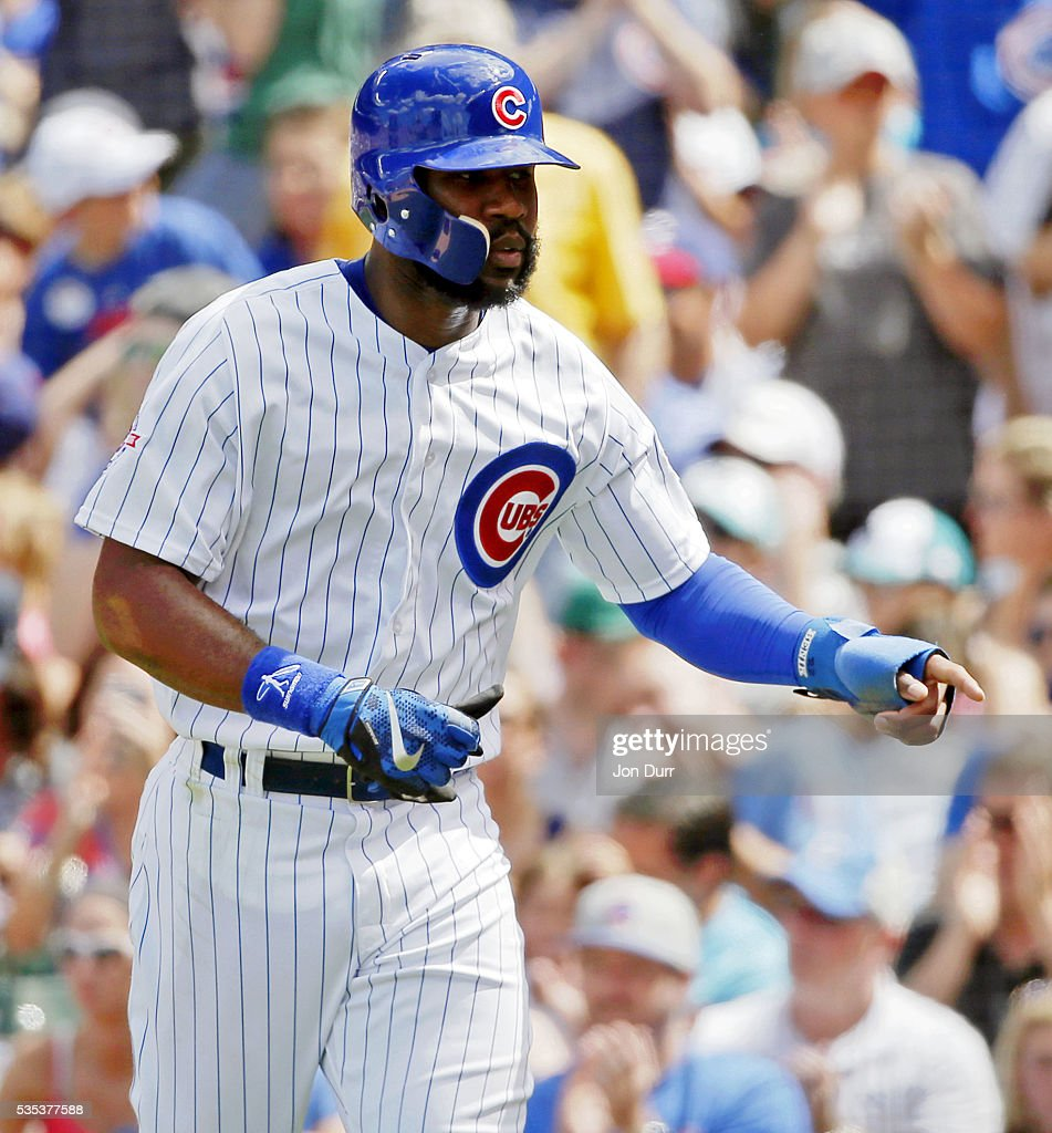 <a gi-track='captionPersonalityLinkClicked' href=/galleries/search?phrase=Jason+Heyward&family=editorial&specificpeople=5043351 ng-click='$event.stopPropagation()'>Jason Heyward</a> #22 of the Chicago Cubs reacts after scoring on an RBI single by Kris Bryant #17 (not pictured) during the fifth inning at Wrigley Field on May 29, 2016 in Chicago, Illinois.