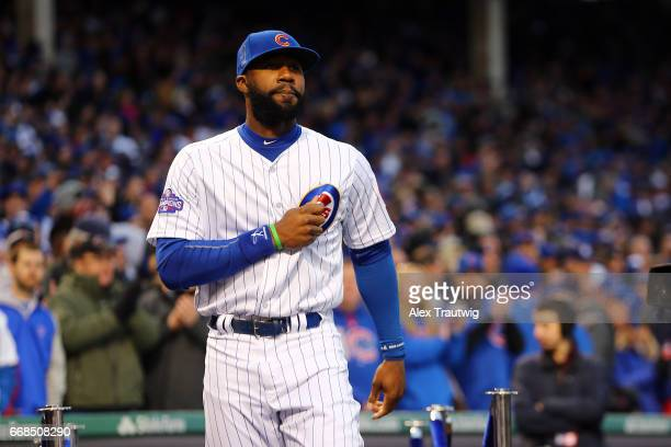 Jason Heyward of the Chicago Cubs takes the field during the World Series ring ceremony ahead of the game between the Los Angeles Dodgers and the...