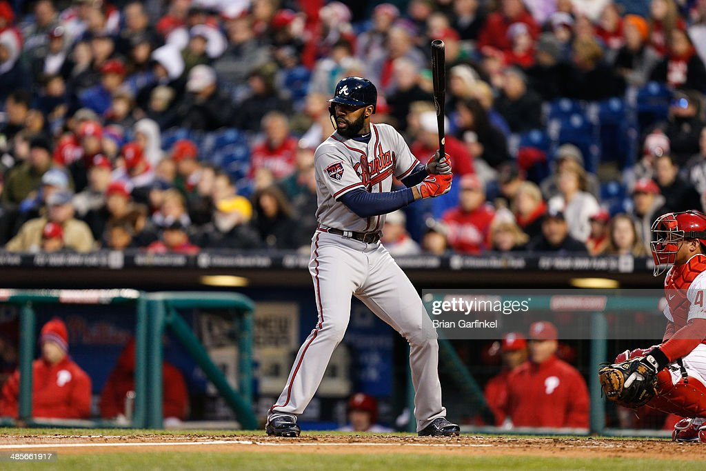 <a gi-track='captionPersonalityLinkClicked' href=/galleries/search?phrase=Jason+Heyward&family=editorial&specificpeople=5043351 ng-click='$event.stopPropagation()'>Jason Heyward</a> of the Philadelphia Phillies bats during the game against the Philadelphia Phillies at Citizens Bank Park on April 16, 2014 in Philadelphia, Pennsylvania. All uniformed team members are wearing jersey number 42 in honor of Jackie Robinson Day. The Braves won 1-0.