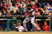 Jason Heyward of the Philadelphia Phillies prepares to bunt during the game against the Philadelphia Phillies at Citizens Bank Park on April 16 2014...