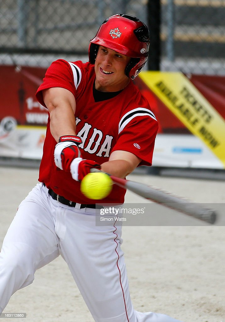 Jason Hill of Canada bats during the pool B match between Japan and Canada at Tradstaff Sports Stadium on March 5, 2013 in Auckland, New Zealand.